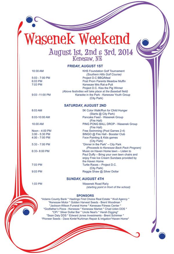 kenesaw wasenek weekend schedule 2014